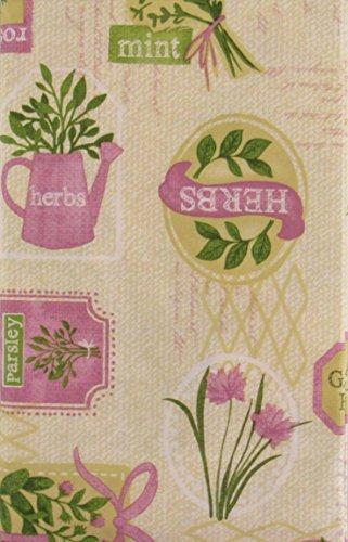 Garden Herbs Collection Vinyl Flannel Back Tablecloth (52