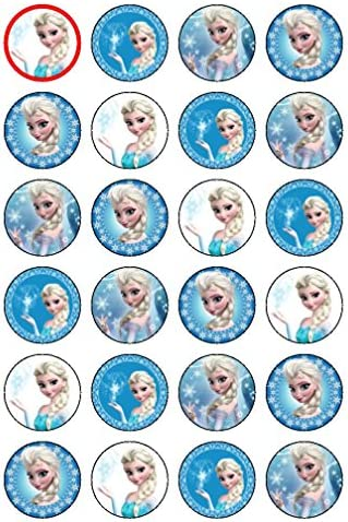 """Essbare Cupcake-Aufsetzer im Elsa-Design (Disney-Prinzessin aus """"Die Eiskönigin""""), 24 Stück"""