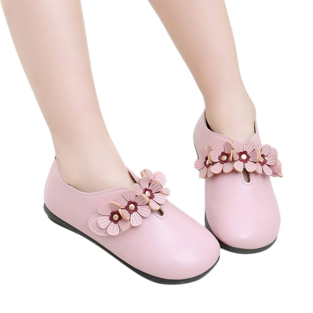Baby Loafers FAPIZI Infant Solid Flower Student Single Soft Dance Princess Shoes Prewalker Anti-Slip Shoes