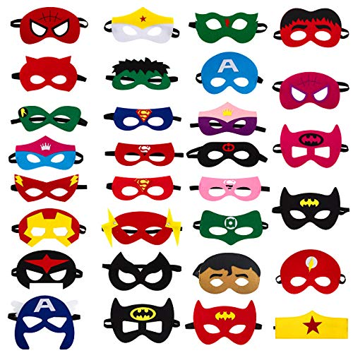 30pcs Superhero Felt Masks for Kids Party Cosplay Superhero Masks with Elastic Rope Party Favors Mask for Birthday Gifts (Multicolor)]()