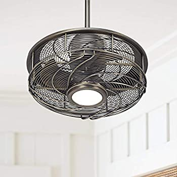 17 Quot Casa Vestige Modern Outdoor Ceiling Fan With Light Led Cage Antique Bronze Frosted White