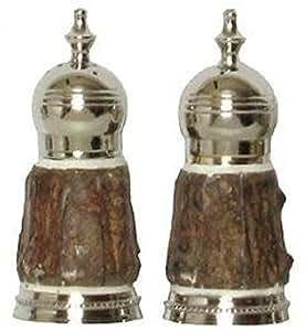 Salt & Pepper Shakers w/ Wood & Bone Sides - Fruitwood