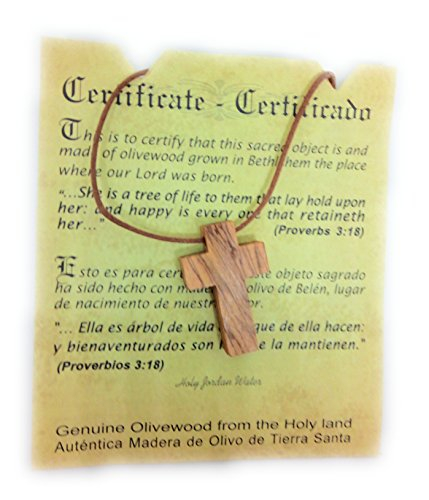 (Olive Wood Pendant | Small Cross Design | Top Quality | Handcrafted in the Holyland | Certificate of Origin | Genuine Product)