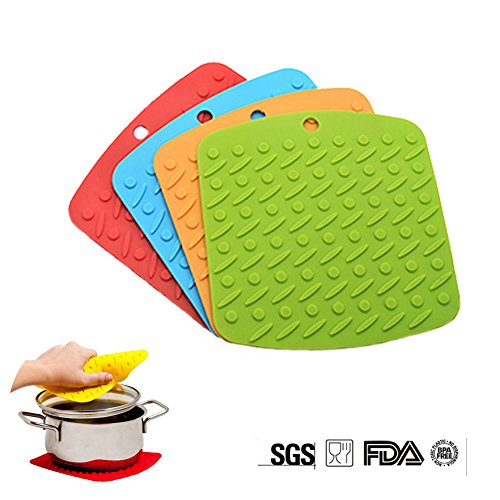 Malicosmile Silicone Pot Holders Mat Set of 4, Heat Resistant, Non-slip, Insulation, Durable, Flexible, Dishwasher Safe Silicone Hot Pads (6.7'' x 6.9'')