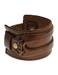 Authentic Regetta Jewelry Wide Leather Casual Mens Brown Cuff Bangle Bracelet