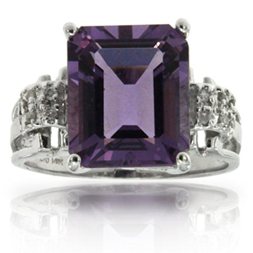 14k White Gold Amethyst Rectangle Cut Ge - Diamond Forever Right Hand Ring Shopping Results