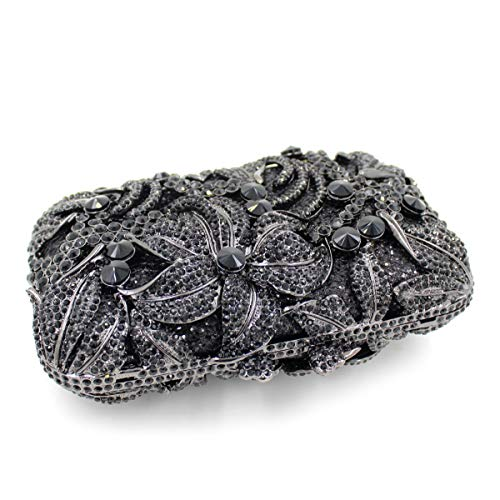 embrayage diamants Sac creux cristal métallique de dîner de Lily de Sac de luxe Black de strass Sac gXxq6ZwTHn