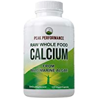 Raw Whole Food Vegan Calcium Supplement by Peak Performance. Plant Based Calcium with Vitamin C, D3, K, Magnesium. Capsules for Bone, Joints. with 25 Organic Vegetables and Fruits 120 Pills, Tablets