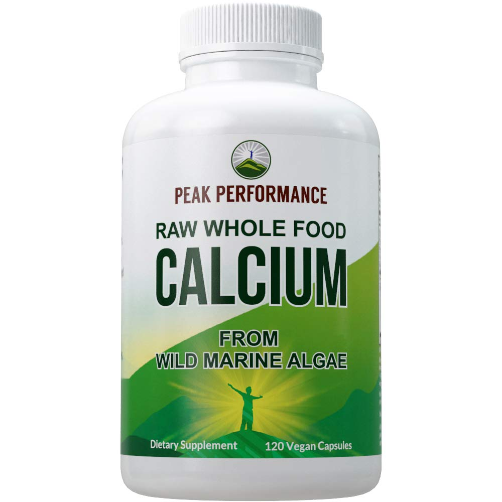 Raw Whole Food Vegan Calcium Supplement by Peak Performance. Plant Based Calcium with Vitamin C, D3, K, Magnesium. Capsules for Bone, Joints. 120 Pills, Tablets