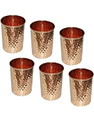 Indian Pure Copper Hammered Water Tumbler Glasses for Healing Ayurvedic Product Set of 6