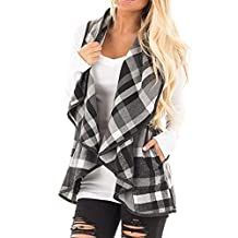 Hot Sale! Napoo Women Sleeveless Plaid Lapel Open Front Vest Cardigan With Pockets