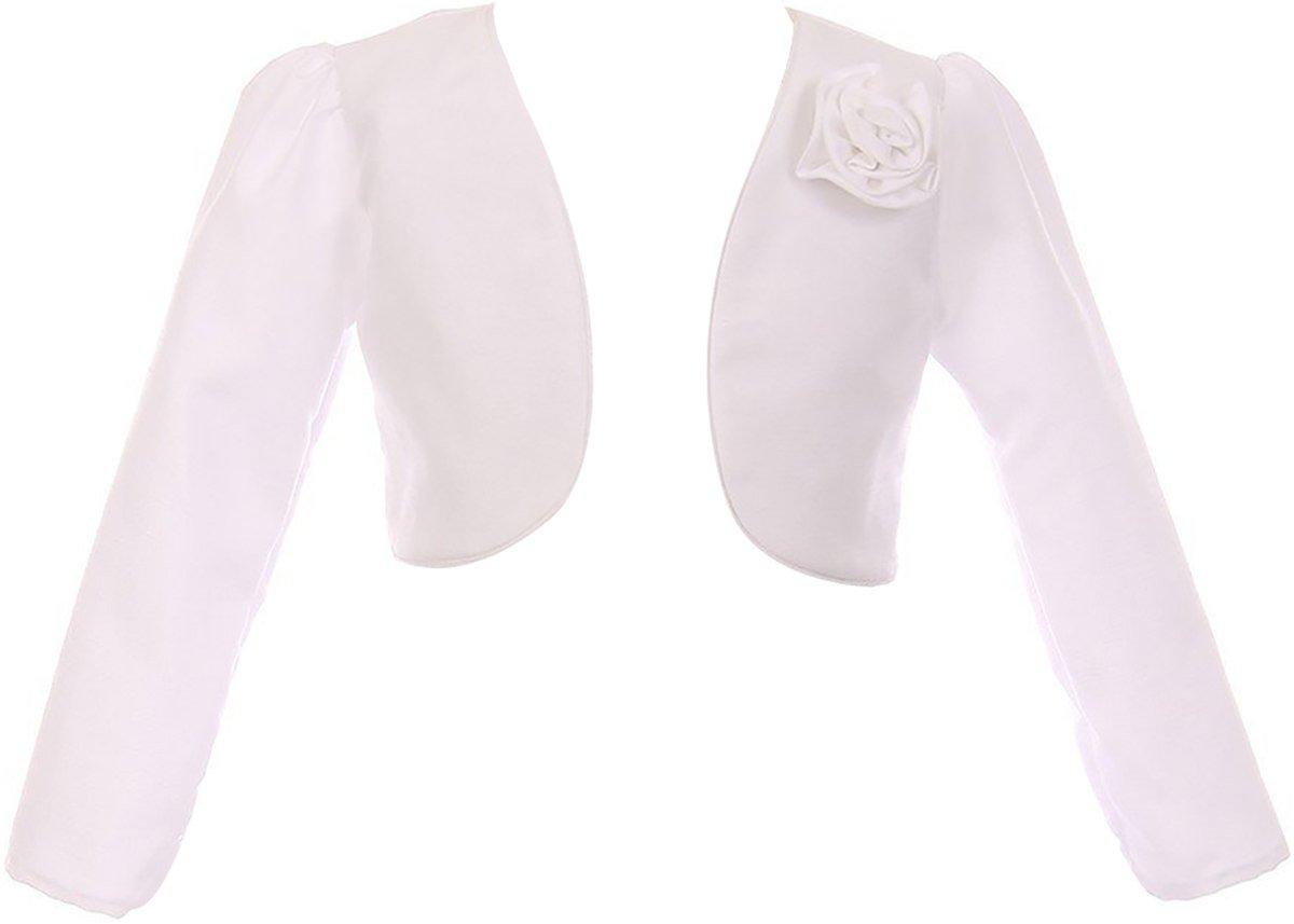 Dreamer P Big Girls' Rosette Satin Long Sleeve Flower Girl Bolero Jacket Cover Shrug USA White 8 (K409D)