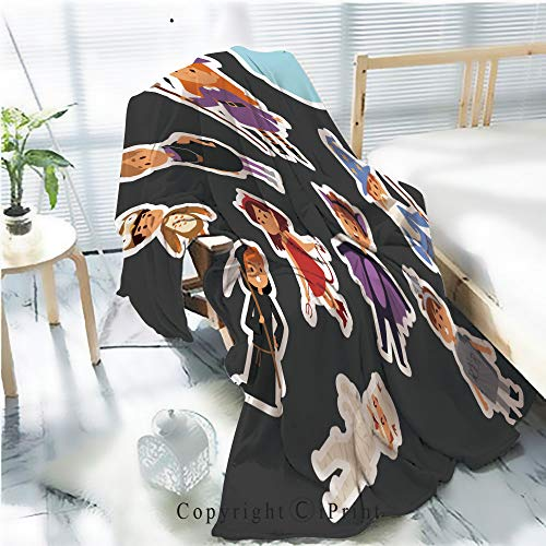 AngelSept Printed Throw Blanket Smooth and Soft Blanket,Cute Kids Wearing Halloween Party Costumes vector1 for Sofa Chair Bed Office Travelling Camping,Kid Baby,W31.5 x H47.2 -