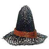 Package of 12 Miniature Natural Sinamay Witch Hats with Harvest Orange Band 2'' Diam From Brim to Brim