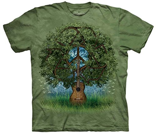 Tie Dyed Shop Mountain Peace Sign Tie Dye T Shirt- Guitar Tree Short Sleeve -XLarge ()