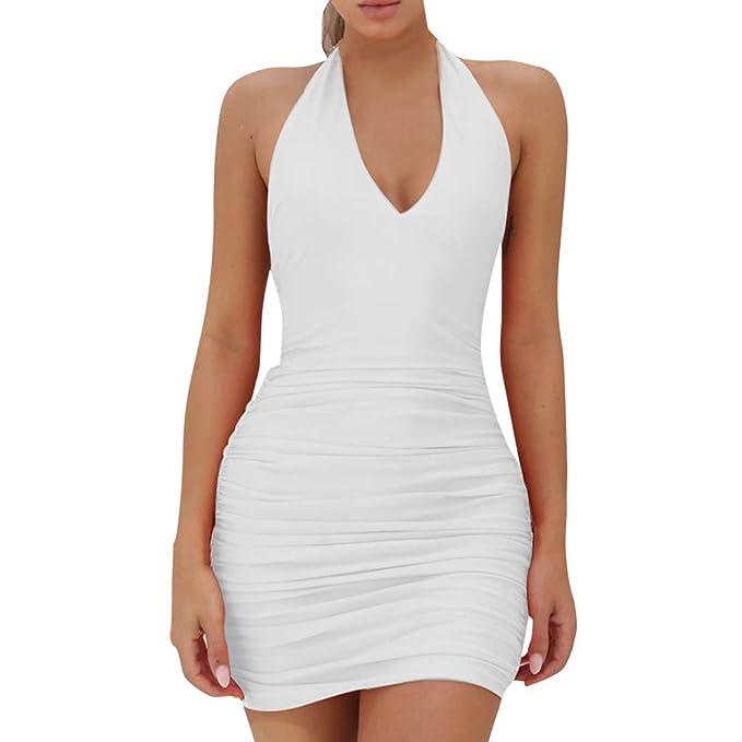 12598695866 Hot!Woman s Hanging Neck Deep V-Neck Low Chest Off Shoulder Backless Party  Dress