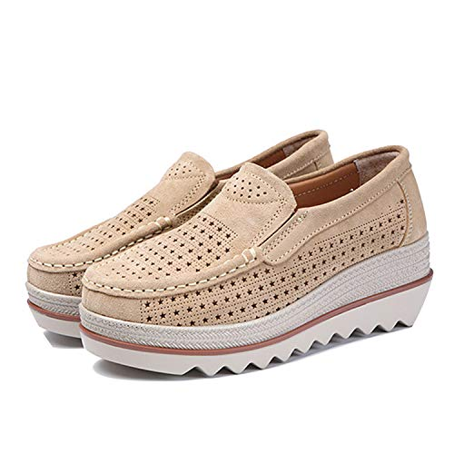 (Alfalfa Plant 2019 Women Flat Shoes Platform Sneakers Slip Flat Hollow Ladies Loafers Leather Shoes Women,Kahki,10)