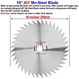 "UniTry 10"" 80T Carbide Tip Blade + 10"" 40T Mn-Steel Blade, Metal Blades for Brush Cutter Trimmer Weed Eater"