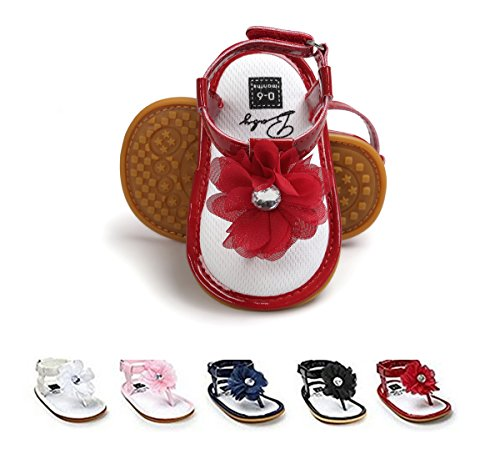 BENHERO Infant Baby Girls Flower Anti-Slip Rubber Sole Prewalker Toddler Sandals (0-8 Months M US Infant), 1974 Red