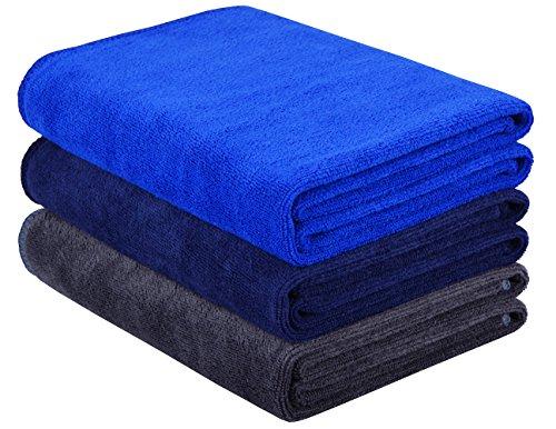 HOPESHINE Microfiber Gym Towels Fast Drying Sports Towel 3-Pack 16inch X 32inch (Grey+Dark Blue+Navy Blue)
