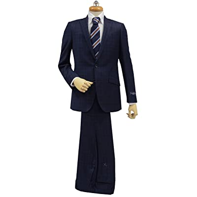 (エルメネジルド・ゼニア) Ermenegildo Zegna生地使用 秋冬スーツ ネイビーブルー 20mm×25mm&2.5×2.5ウインドペン 2つ釦ジャケット・ノータックストレートパンツ