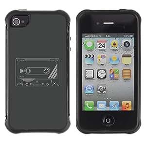 Hybrid Anti-Shock Defend Case for Apple iPhone 4 4S / Cool Retro Cassette Tape