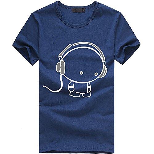 Cotton Tees , Teresamoon Men Boy Earphone O-Neck T-Shirt (M, Blue)