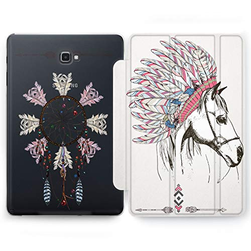 Wonder Wild Indian Horse Samsung Galaxy Tab S4 S2 S3 A E Smart Stand Case 2015 2016 2017 2018 Tablet Cover 8 9.6 9.7 10 10.1 10.5 Inch Clear Design Spirit Magic Heritage Gold Animal Boho Feather ()