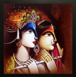 SAF Radha krishna Krishna Painting || krishna painting || Krishna poster || Krishna wall stickers || SAF exclusive Framed Wall Art Paintings for Living room and Bedroom. Frame size (Wood, 30 cm x 3 cm x 30 cm, Special Effect Textured) || Large painting