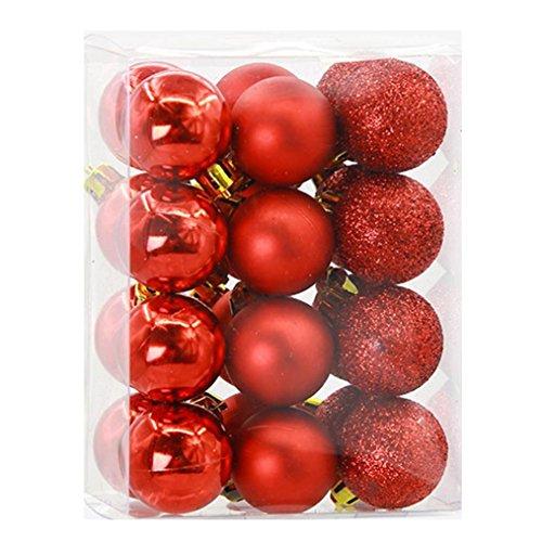 Gotd 24pcs 3cm Christmas Balls Baubles Party Xmas Tree Decorations Hanging Ornament Decor, Size:9X6X12cm,Ball Size:3X3CM (Red)