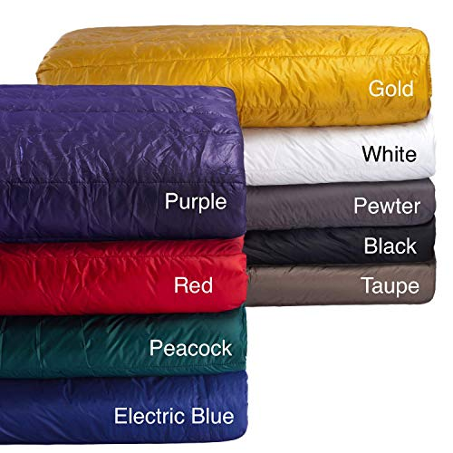 PUFF Down Alternative Indoor/Outdoor Water Resistant Blanket with Extra Strong Nylon Cover, Full/Queen, Black
