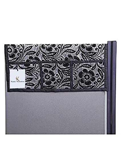 Kuber Industries Velvet Refrigerator Top Cover - Black