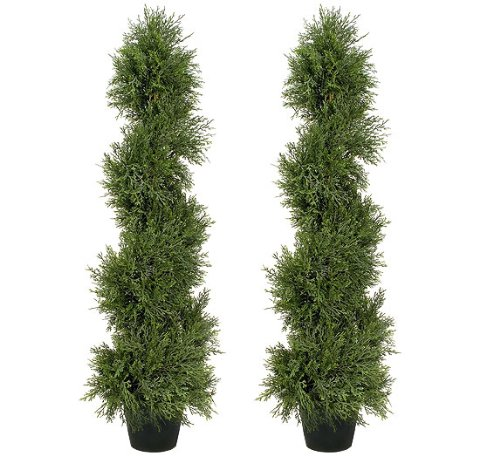 TWO Pre-Potted 3' Pond Cypress Artificial Topiary Trees by Arcadia Silk Plantation
