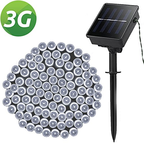Solar String Lights, Outdoor LED String Lights, Lellel 3rd Gen Super Bright Light String for Yard Patio Garden Tree Party Wedding Decoration, Cool White With 8 Working (Mini Solar Lights)