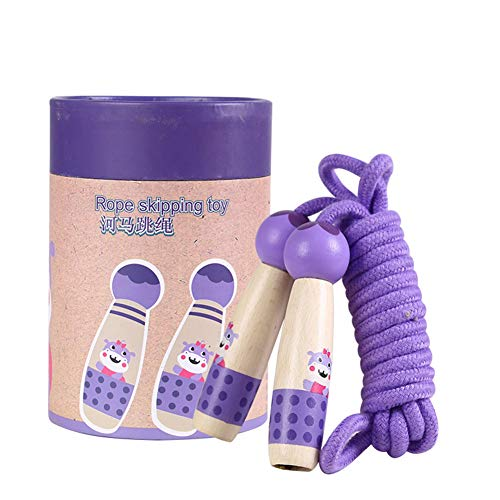 Skipping Hippos - Ocamo Outdoor Game Cartoon Children Handled Jumping 3M Cartoon Children Skipping Rope Purple Hippo