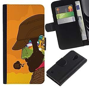 KingStore / Leather Etui en cuir / Samsung Galaxy S4 IV I9500 / Haciendo Buena Cara colorida