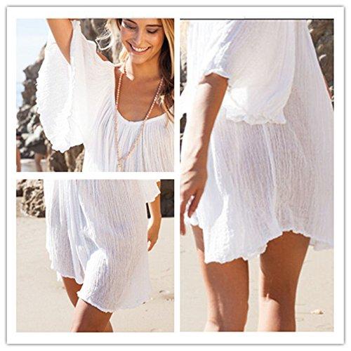 ... JOTHIN Damen Böhmen V-ausschnitt Schlinge Kurz Ärmel Kurzes Kleid  Sommerkleid Strandkleider-Form Shirt ... 3a6555c221