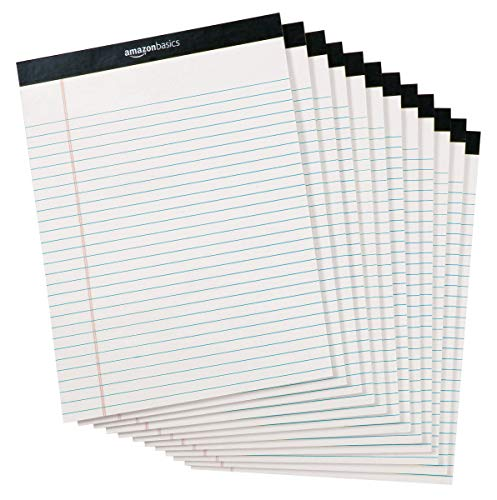AmazonBasics Legal/Wide Ruled 8-1/2 by 11-3/4 Legal Pad - White (50 Sheet Paper Pads, 12 pack) (List Of Office Supplies For Your Desk)