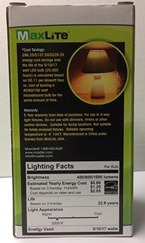 MaxLite 100 W equivalente Blanco suave A21 bombilla LED de 3: Amazon.es: Iluminación
