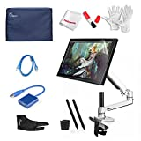 Ugee UG-1910B 19 Inch Graphics Pen Display Tablet with LCD Monitor Arm, USB 3.0 to VGA Adapter, 2 Original Pens, Monitor Cover, Screen Protector, Two-Finger Glove and 2 USB Cable