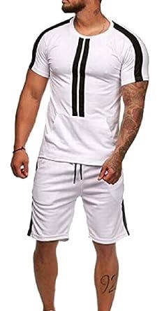 Amazon.com: yieg-mx Mens Stripe chándal trajes de dos piezas ...