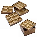 Stock Your Home Stackable Jewelry Organizer Trays & Lid for Jewelry Showcase Display & Jewelry Storage Holder for Earrings, Bracelets, Necklaces & Rings – Set of 4