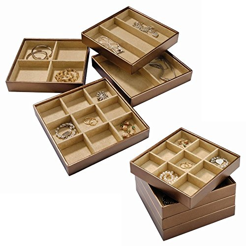 Stock Your Home Stackable Jewelry Organizer Trays for Jewelry Showcase Display & Jewelry Storage Holder for Earrings, Bracelets, Necklaces & Rings – Set of 4 (Bronze)