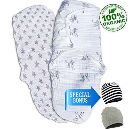 Organic Baby Swaddle Blanket Wrap Set (2 Pack) Adjustable Fastening for Newborn,100% GOTS Certified Soft Organic Cotton, Unisex boy/Girl, Infant 0-3 ()