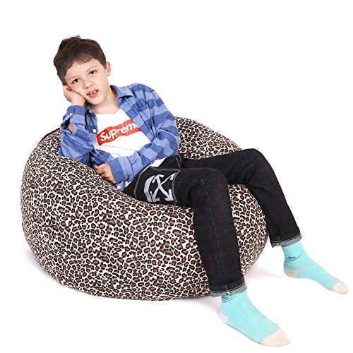 Lukeight Stuffed Animal Storage Bean Bag Chair, Bean Bag Cover for Organizing Kid's Room - Fits a Lot of Stuffed Animals, X-Large/Leopard Print (Chair Leopard)