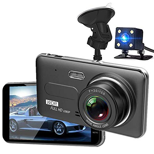 Dash Cam, AODINI 1080P Full HD Dual Car Driving Recorder, Front and Rear DVR Dashboard Camera with 170 Degree Wide Angle, WDR, G-Sensor, Motion Detection, Loop Recording
