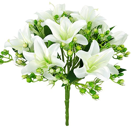Felice Arts Artificial Flowers 9 Heads Natural Silk Artificial Lillies Flowers for Wedding Bouquets Home Decor Party Graves Arrangement, White