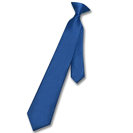 34556a4e449f Image Unavailable. Image not available for. Color: Vesuvio Napoli Boy's CLIP-ON  NeckTie Solid ROYAL BLUE ...