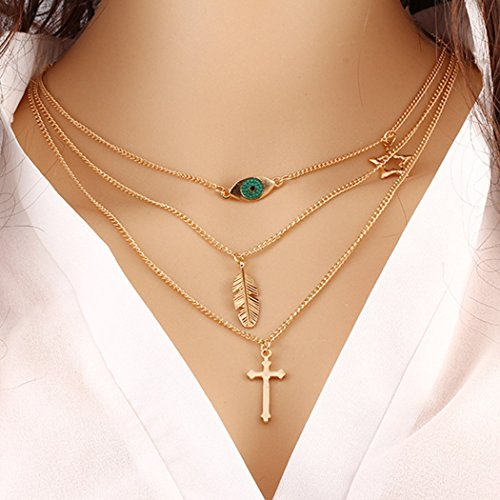 Edary Layered Necklaces for Women Fashion Jewelry for Women and Girls(Gold)
