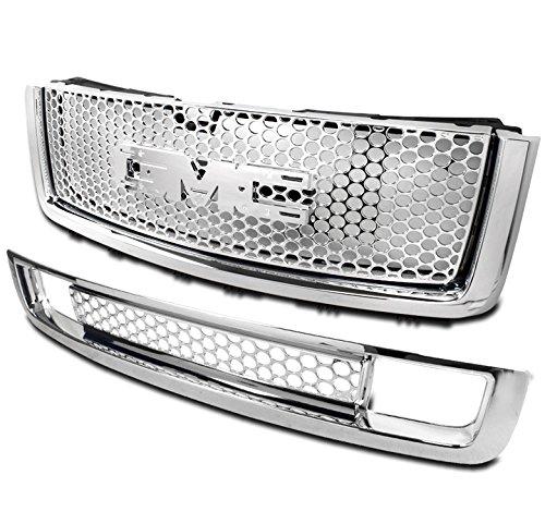 ZMAUTOPARTS GMC Sierra 15 Denali Mesh Front Upper Hood + Bumper Grille Grill Chrome